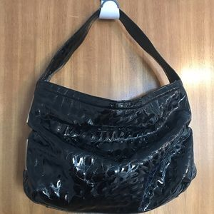 NICOLI Black Patent Leather Hobo